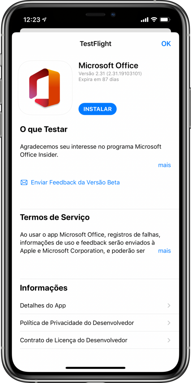 Teste do novo app Office para iOS