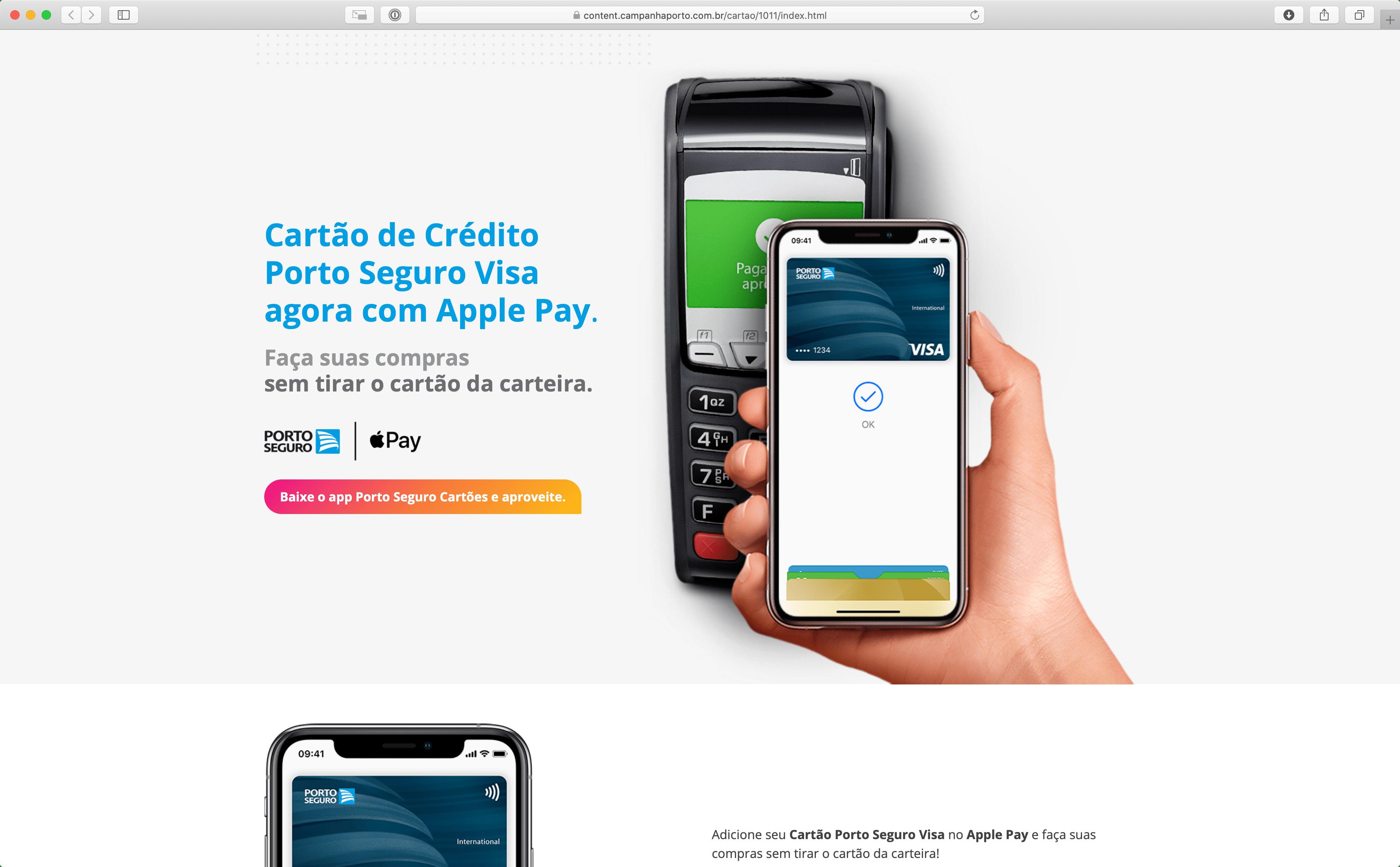 Cartões de crédito da Porto Seguro no Apple Pay