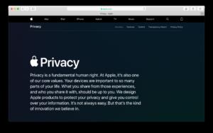 Portal de privacidade da Apple