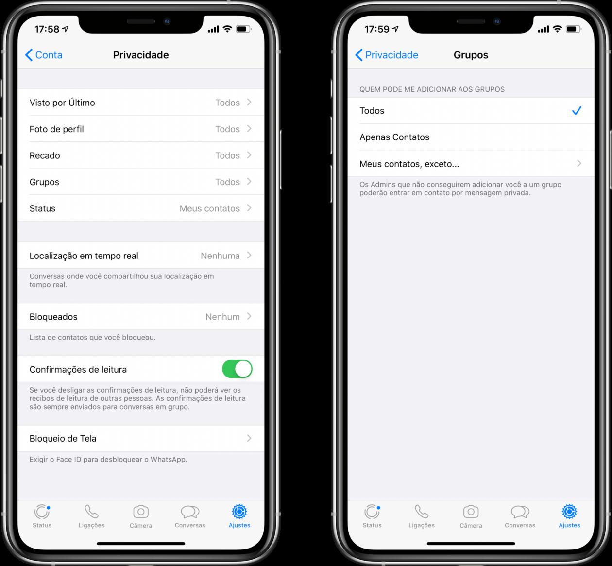 Opções de privacidade para grupos no WhatsApp