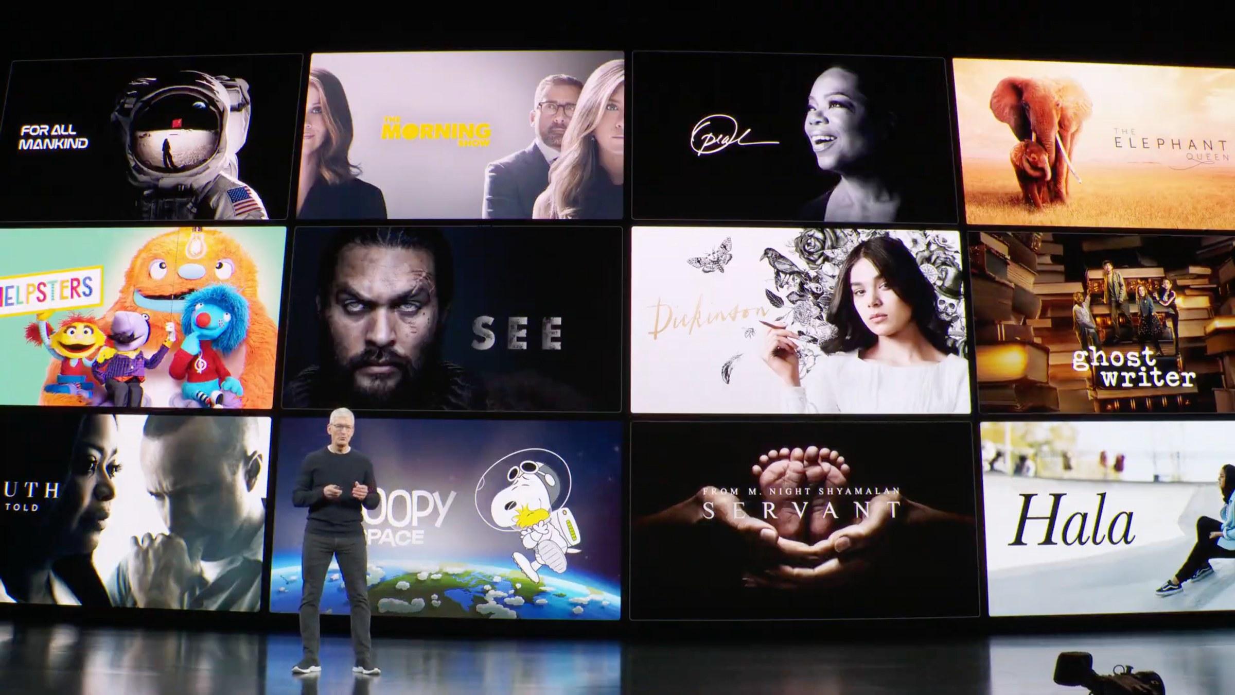 Tim Cook durante apresentação Apple TV+