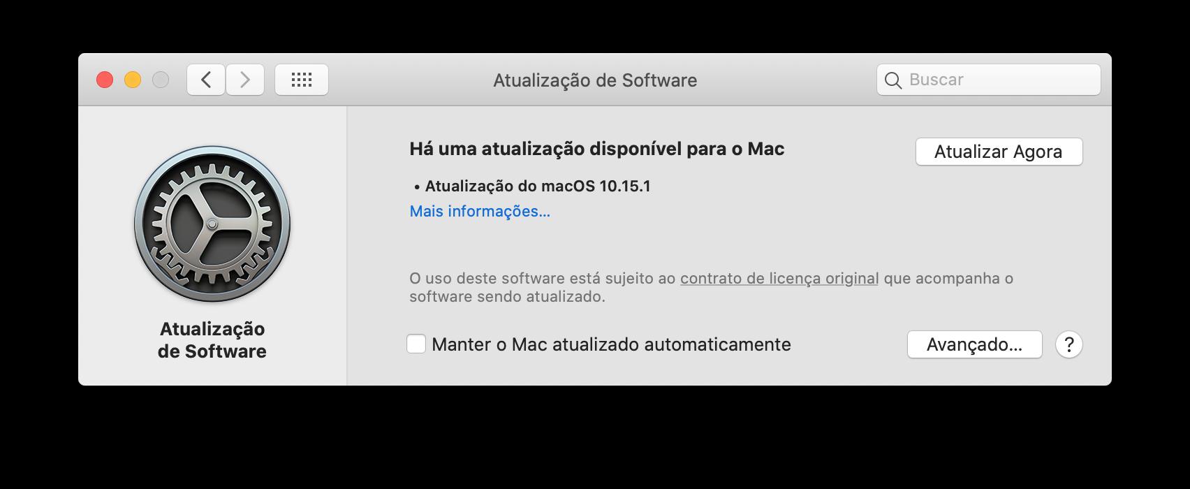 Atualização de software do Mac