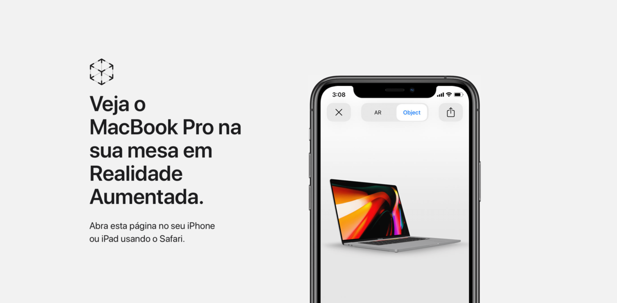 Demonstração do MacBook Pro de 16 polegadas em AR