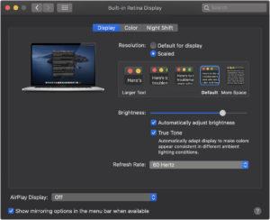 Taxa de atualização da tela do novo MacBook Pro de 16 polegadas