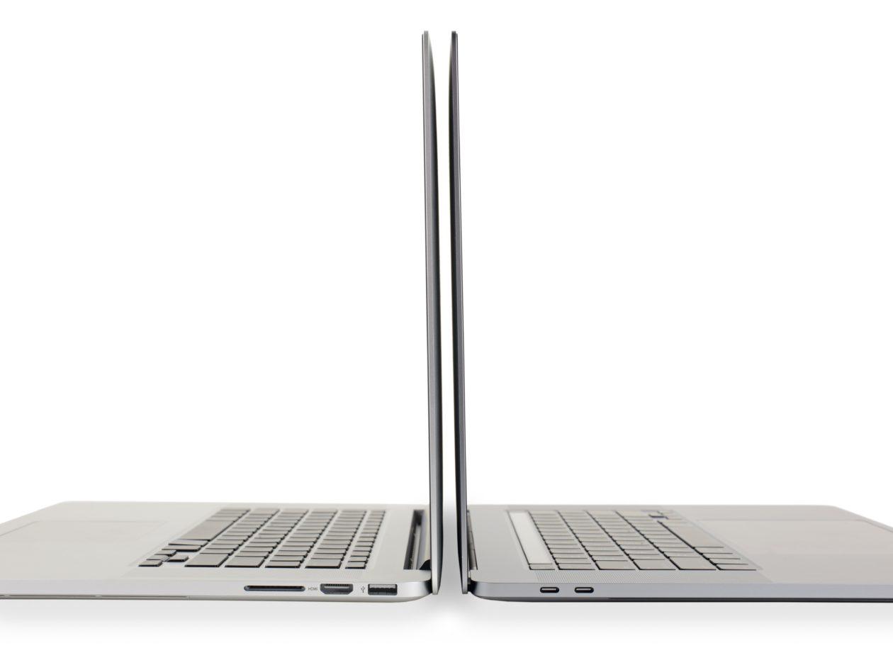 """Teclado do MacBook Pro de 15"""" (2015) vs. de 16"""" ((2019)"""