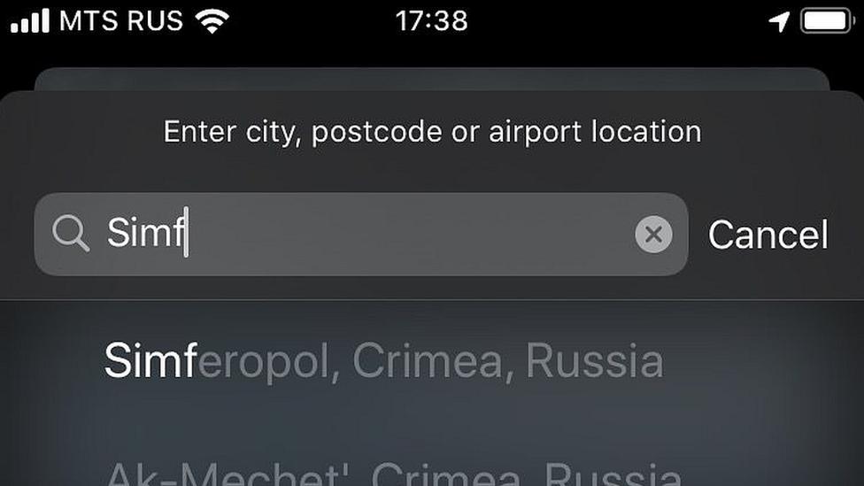 Mapas da Apple mostrando Crimeia como território da Rússia