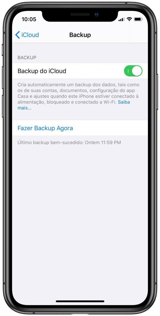 Backup do iCloud no iPhone