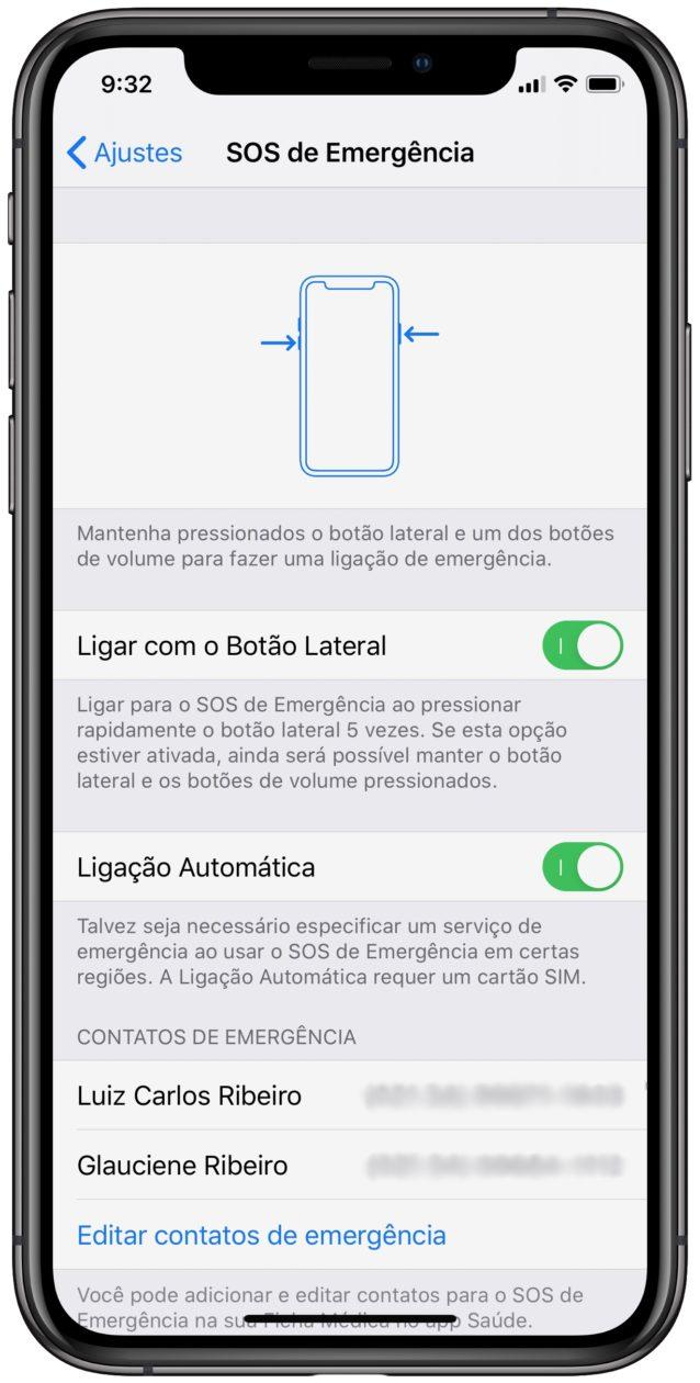 Contatos de emergência no iPhone