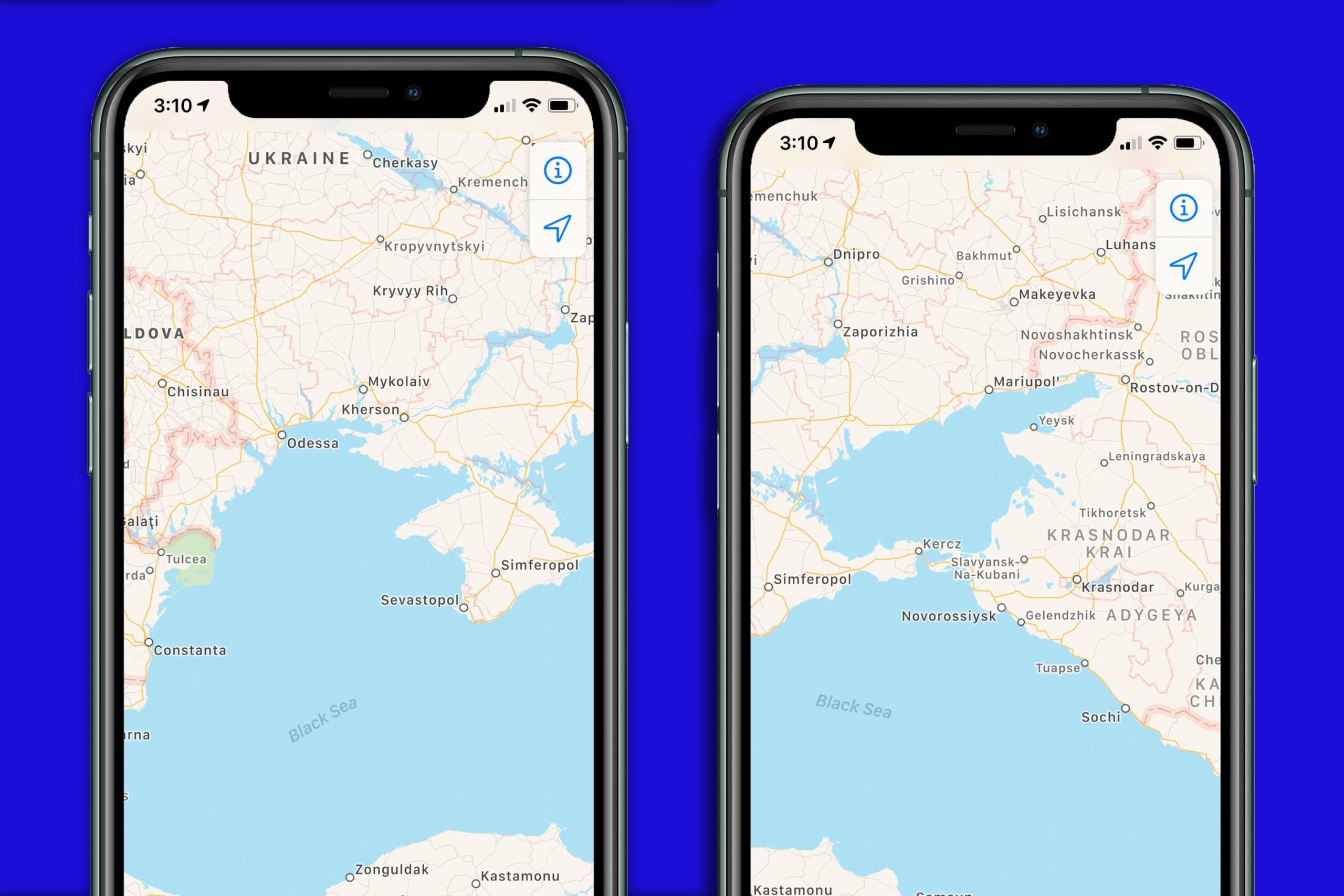 Crimeia nos Mapas da Apple