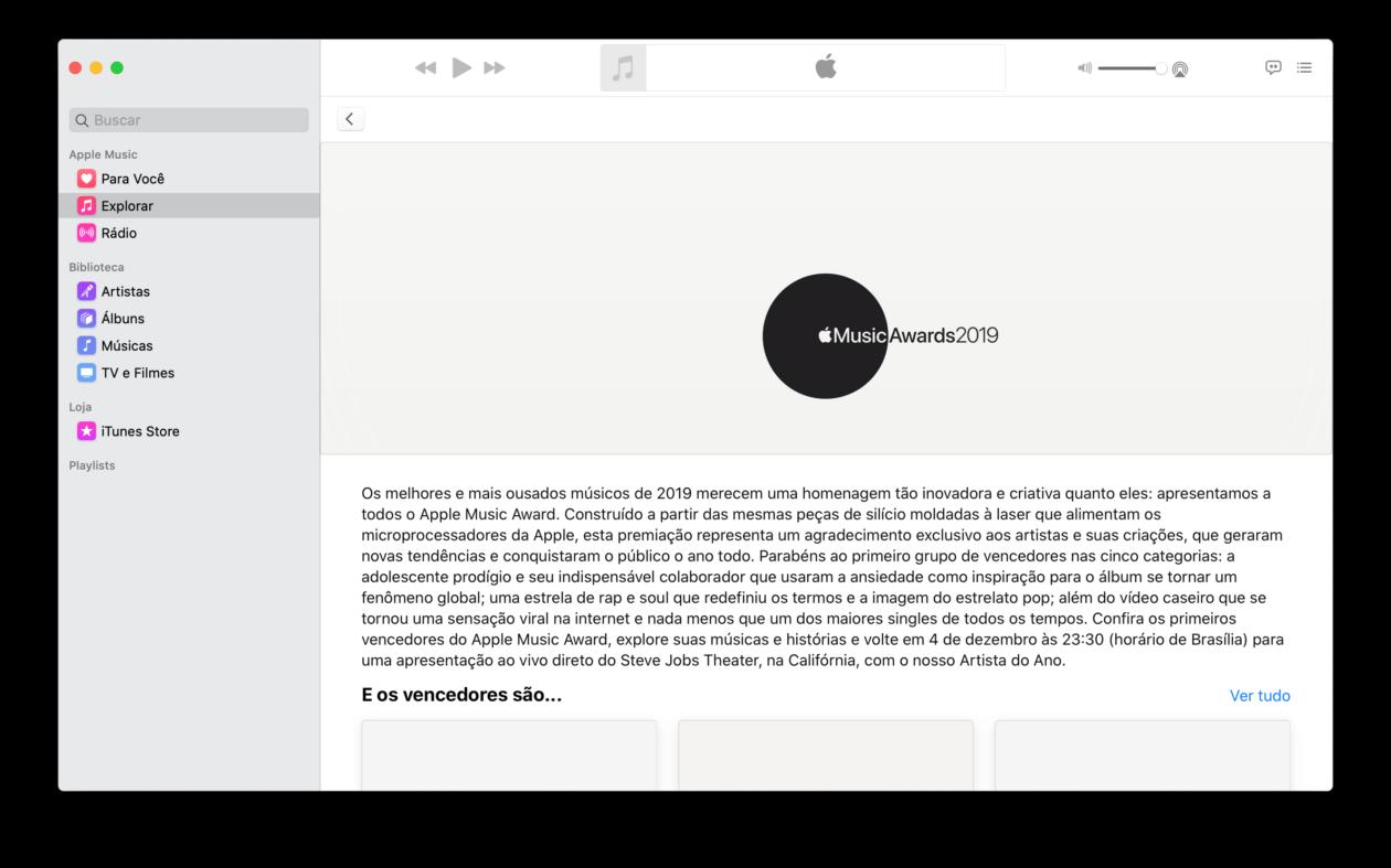 Apple Music Awards no app Música do macOS