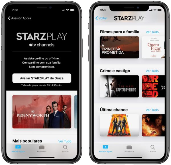 STARZPLAY nos Canais da Apple TV