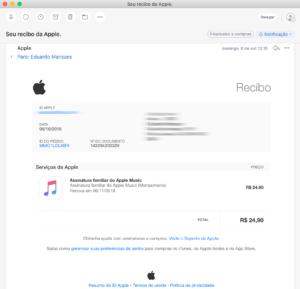 Recibo de compras da App Store