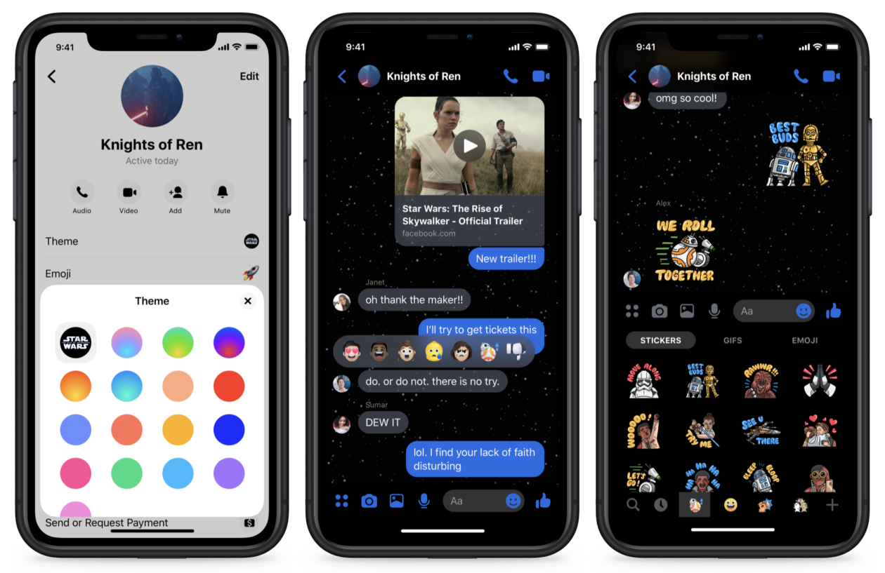 Tema de Star Wars no Facebook Messenger