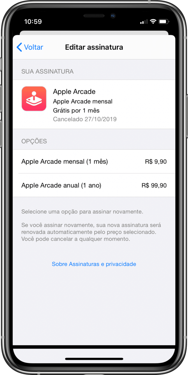 Assinatura anual do Apple Arcade