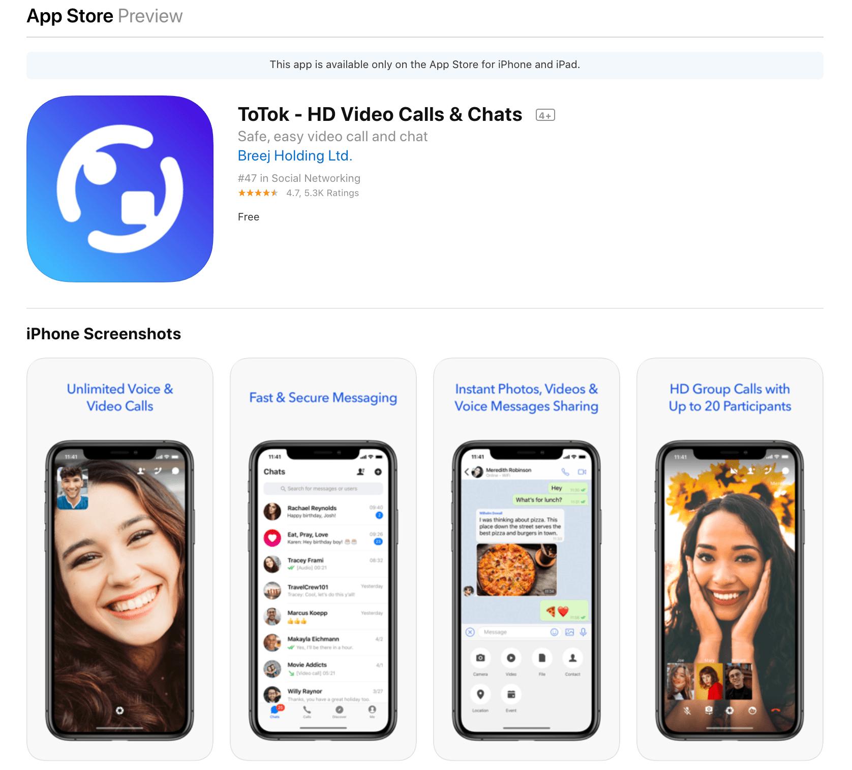 ToTok na App Store