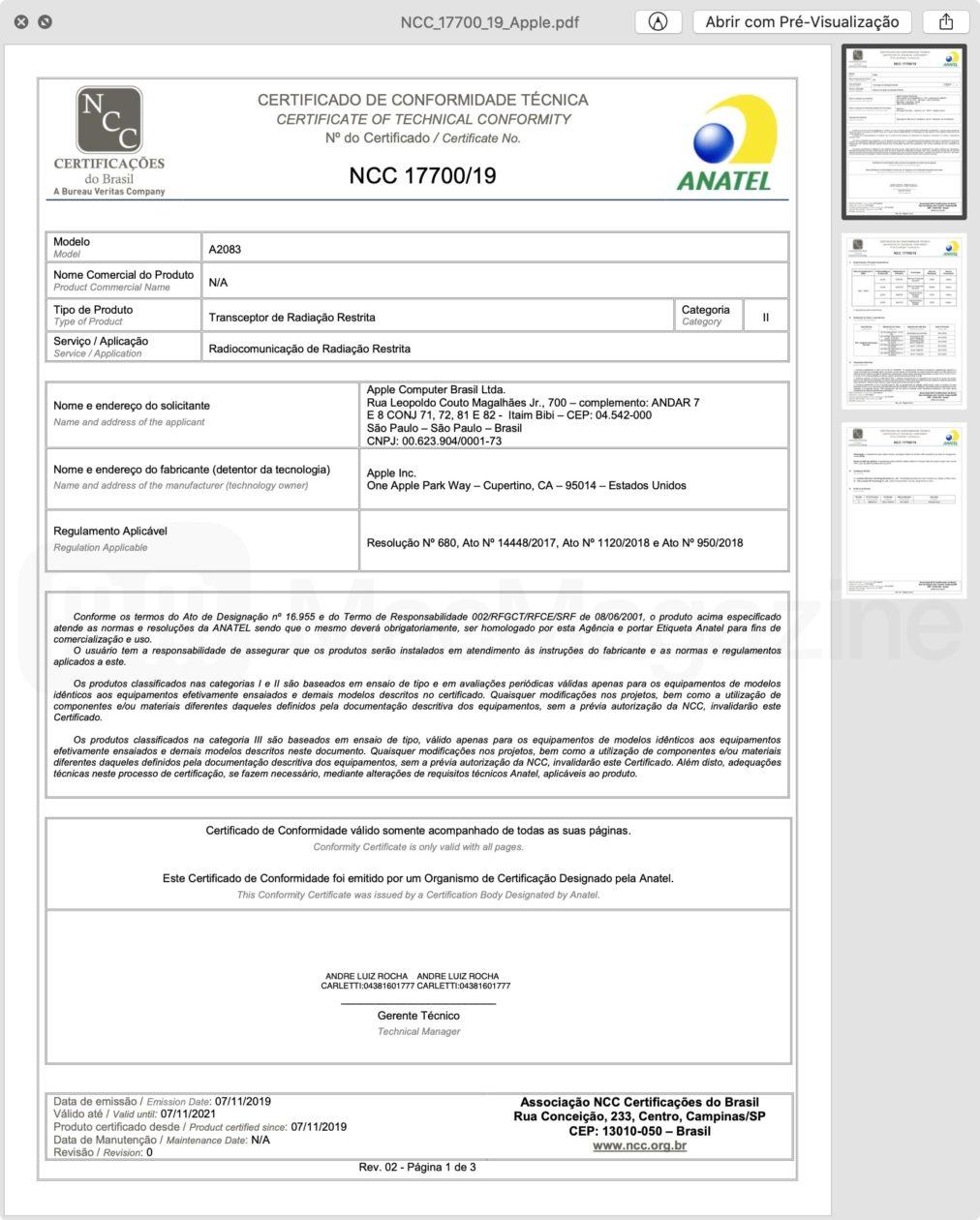 Certificado de Conformidade Técnica dos AirPods Pro