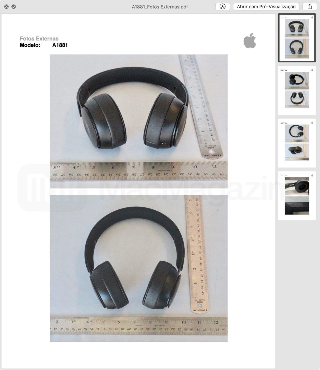 Fotos externas dos Beats Solo Pro enviados à Anatel