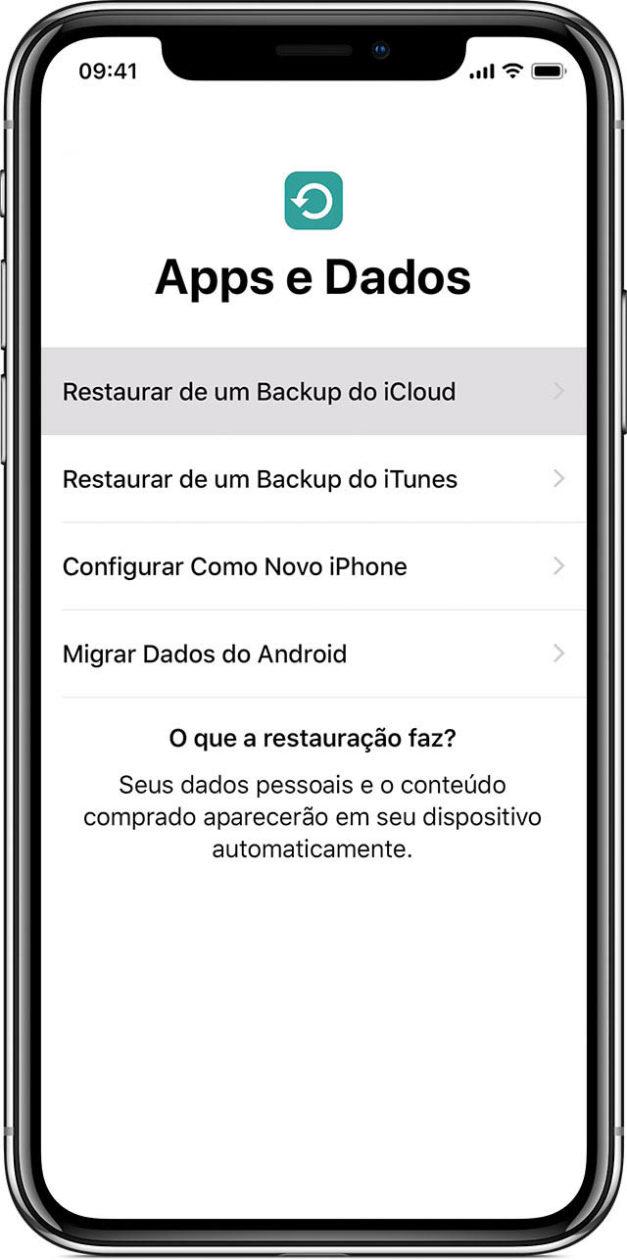 Restauração pelo backup do iCloud