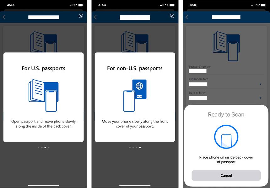 Escaneando passaporte no app da American Airlines
