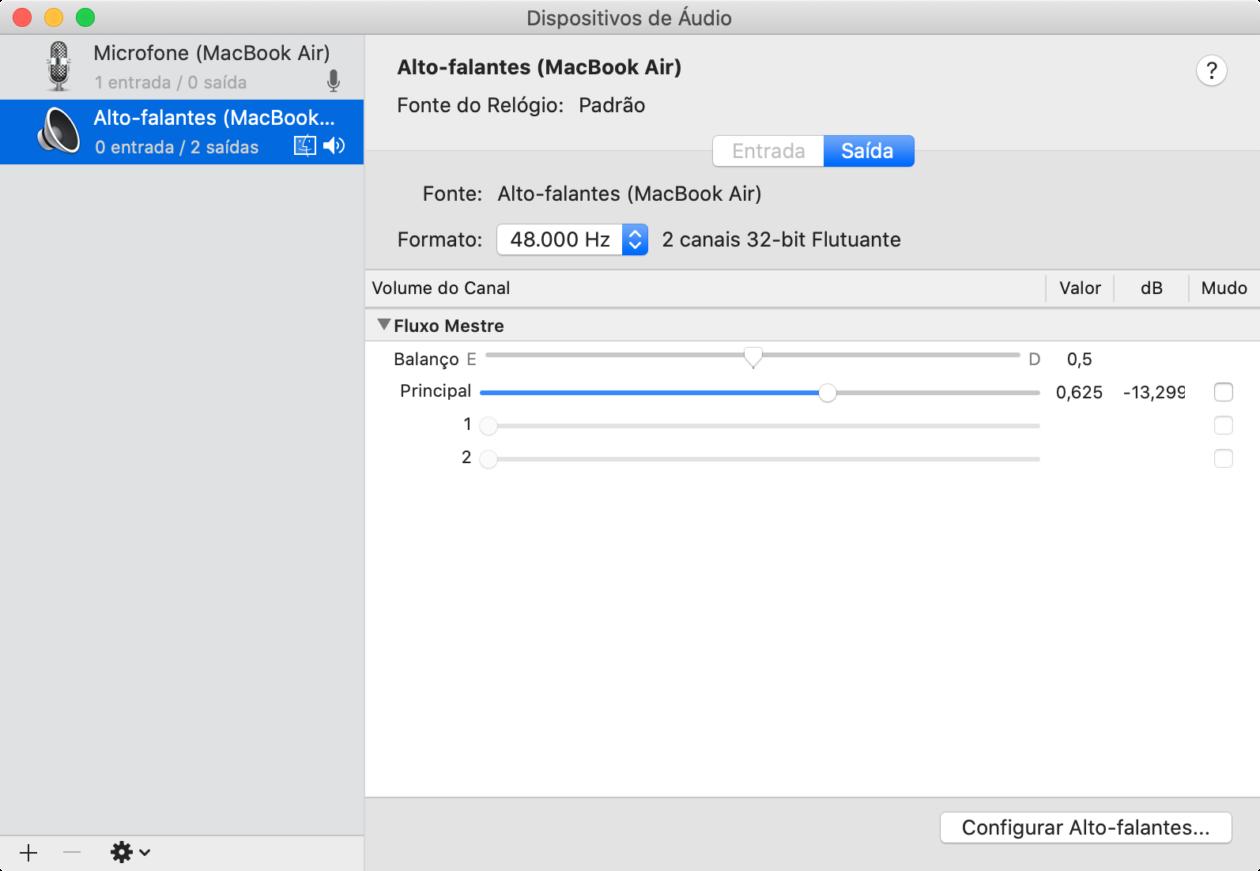Configurando a frequência de áudio do macOS