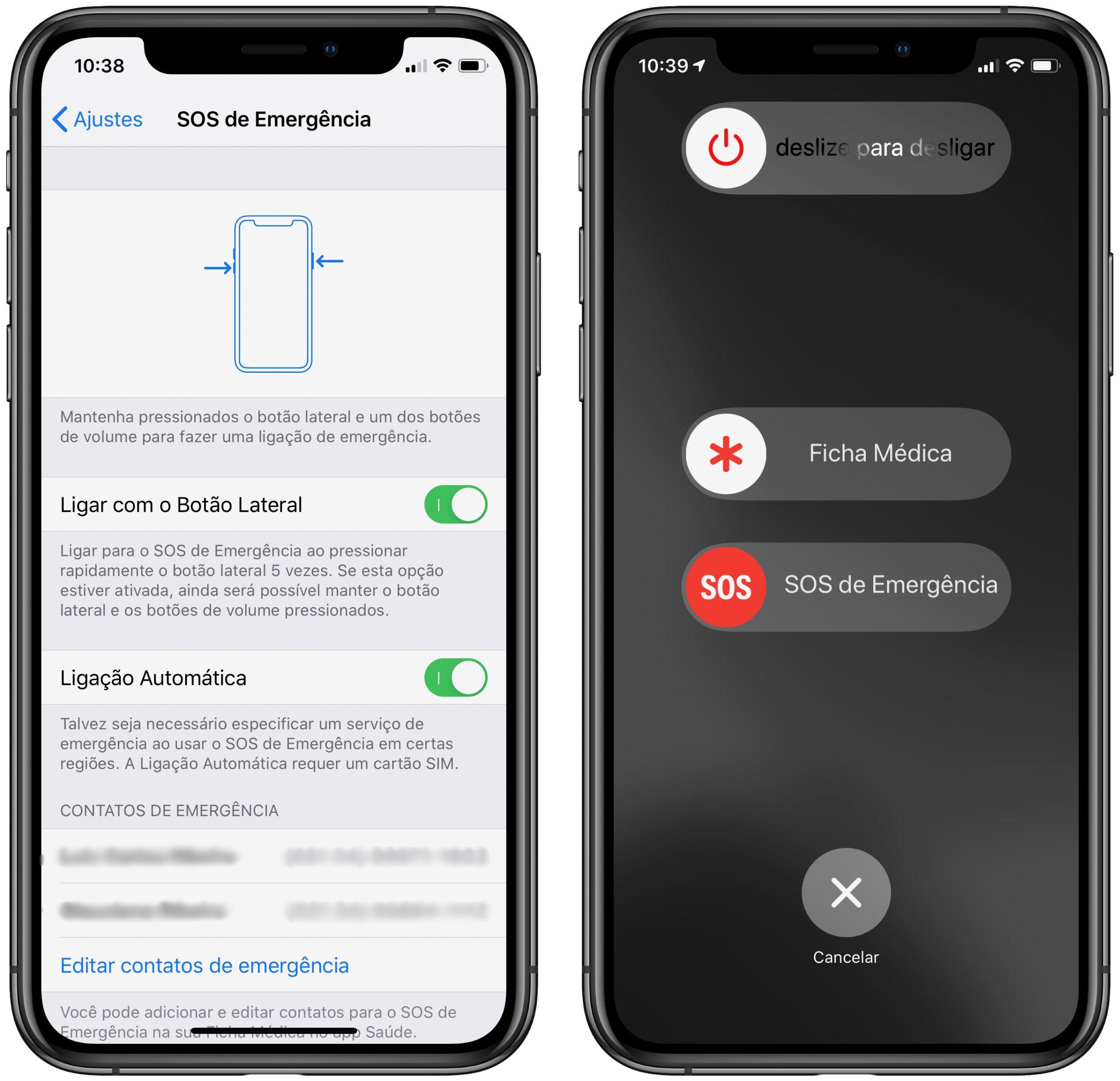 SOS de Emergência no iPhone