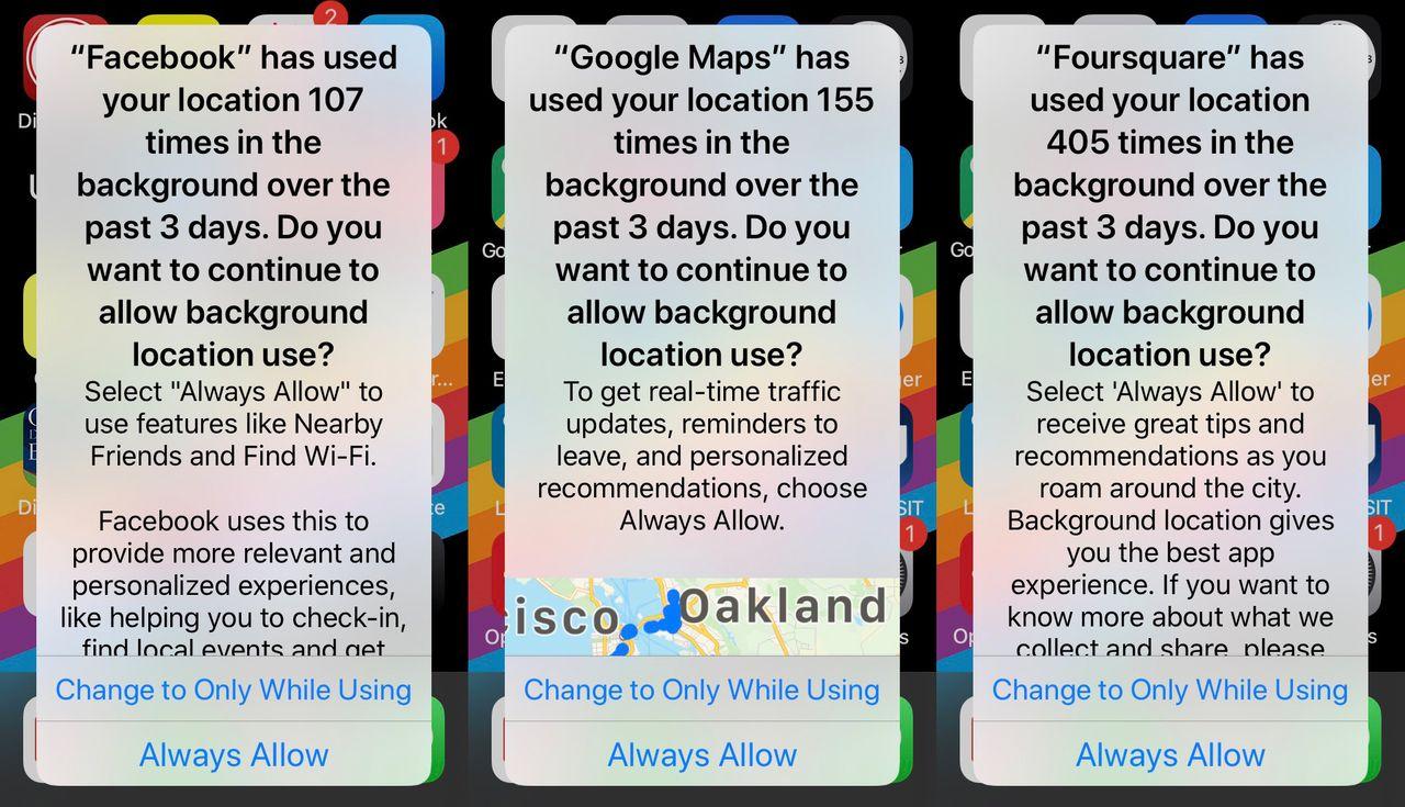 Alertas de localização do iOS 13