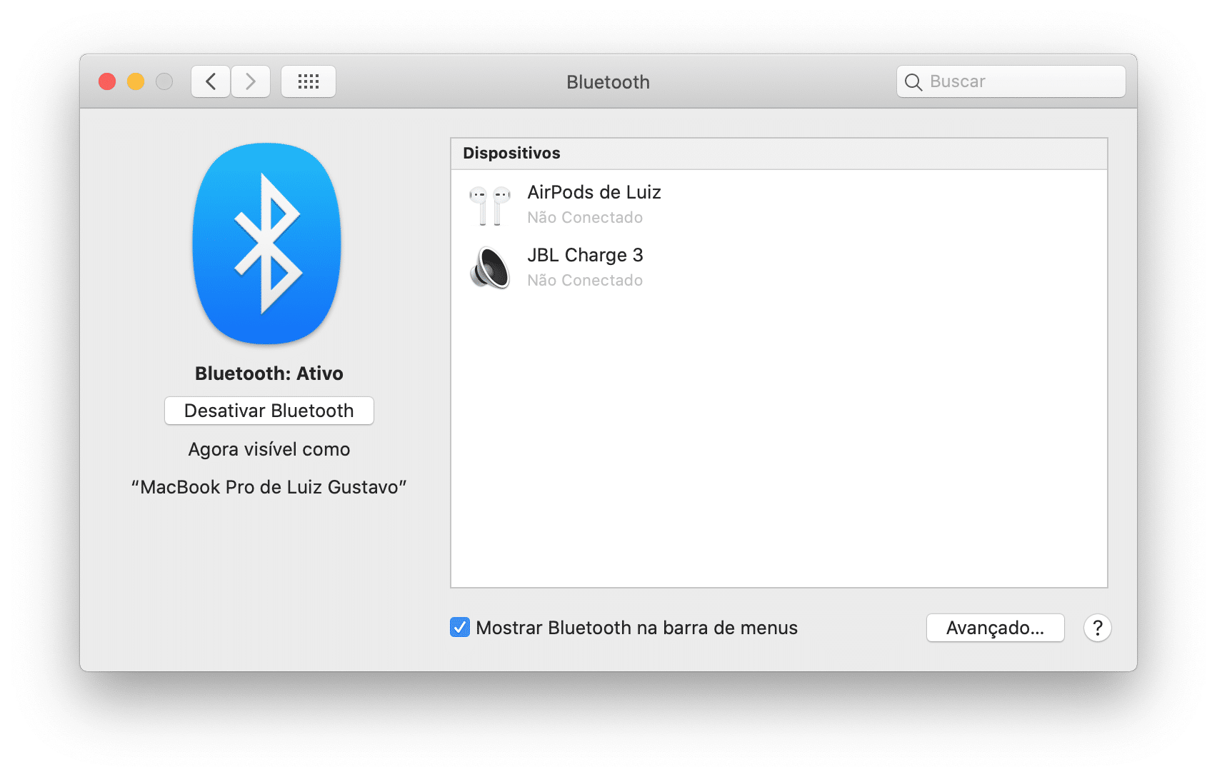 Ajustes de Bluetooth do Mac