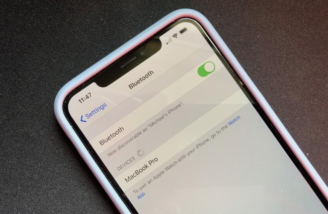 Configurações Bluetooth no iPhone