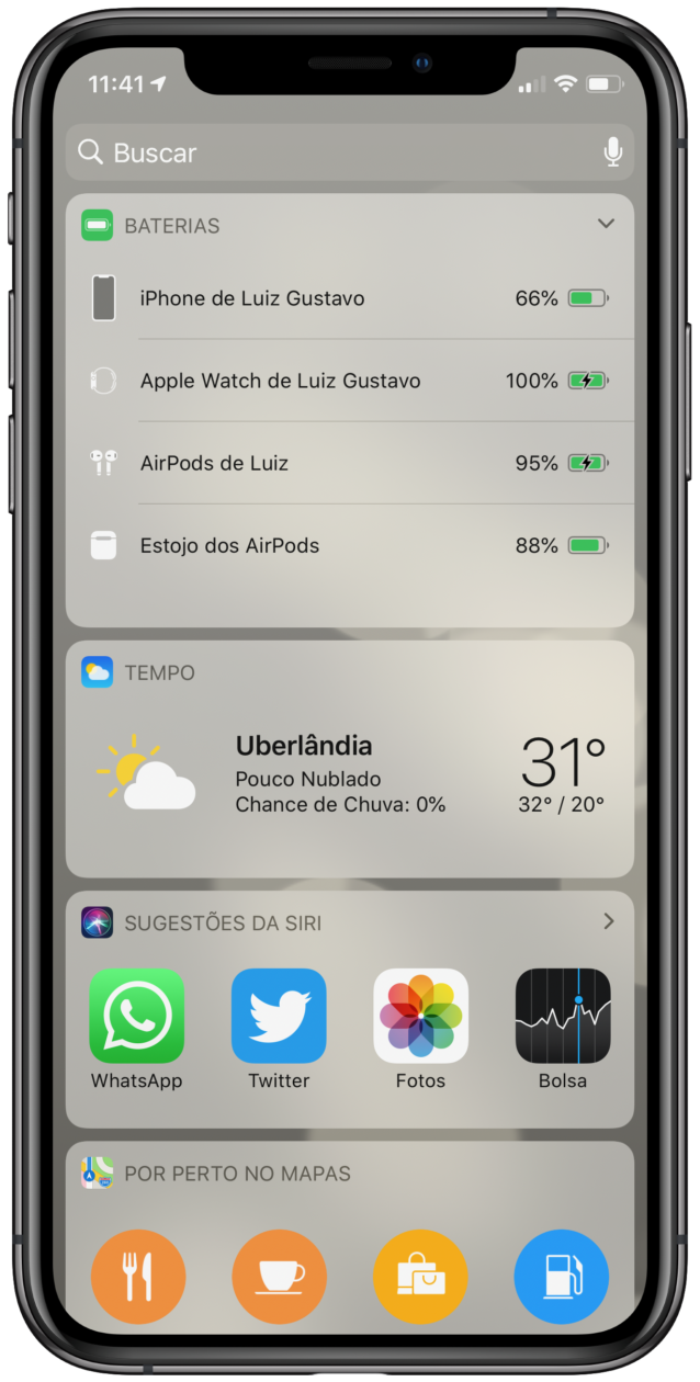 Widget de bateria no iPhone
