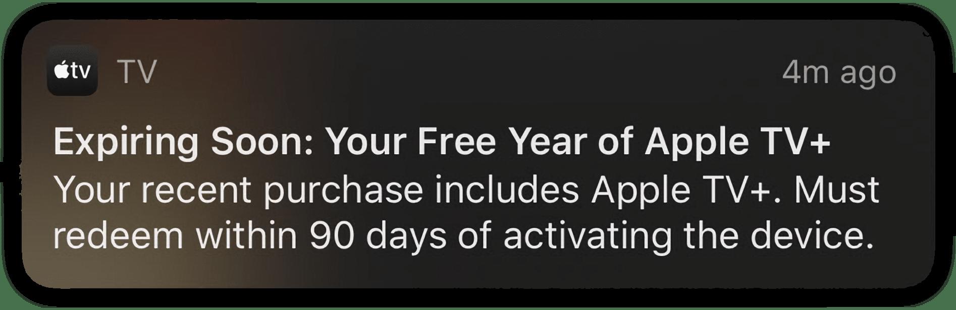Notificação sobre oferta do Apple TV+