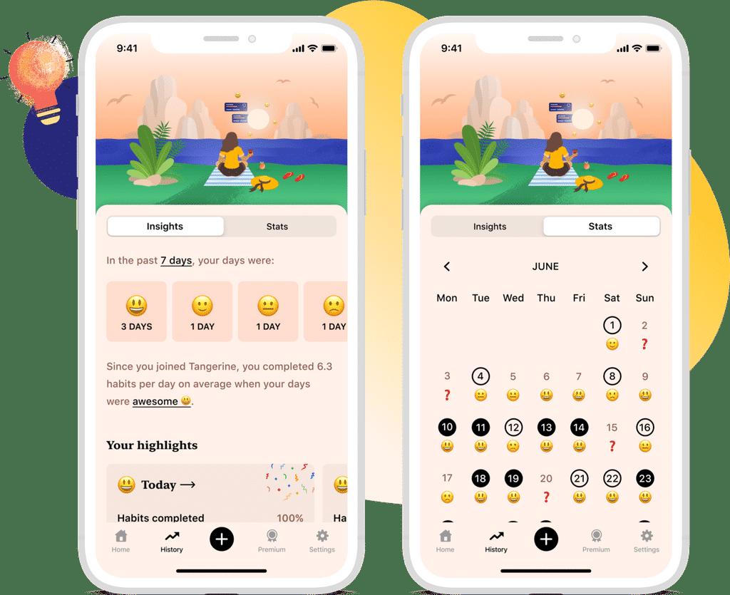 Estatísticas do app Tangerine
