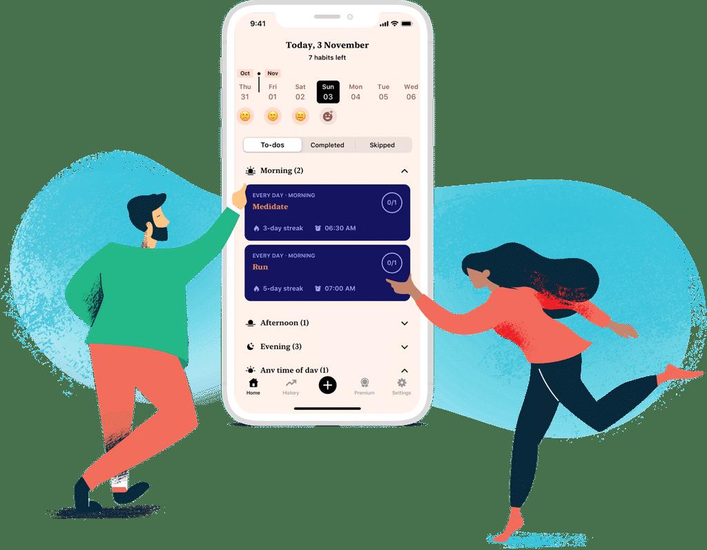 Hábitos do app Tangerine
