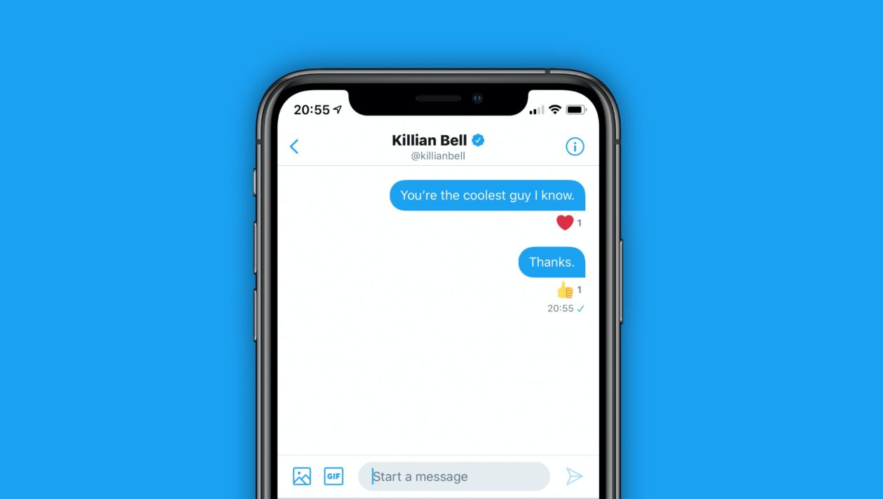 Reação de mensagens no Twitter