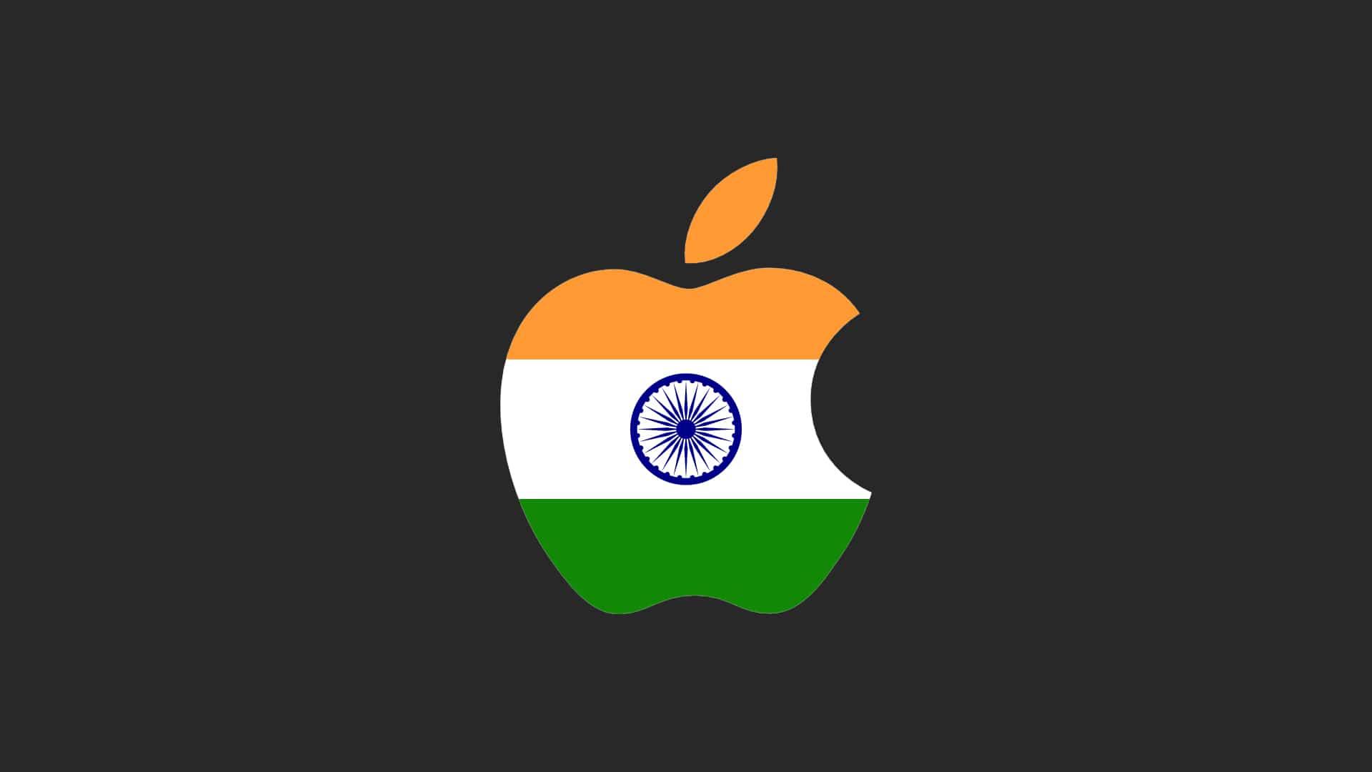 Bandeira da Índia no logo da Apple