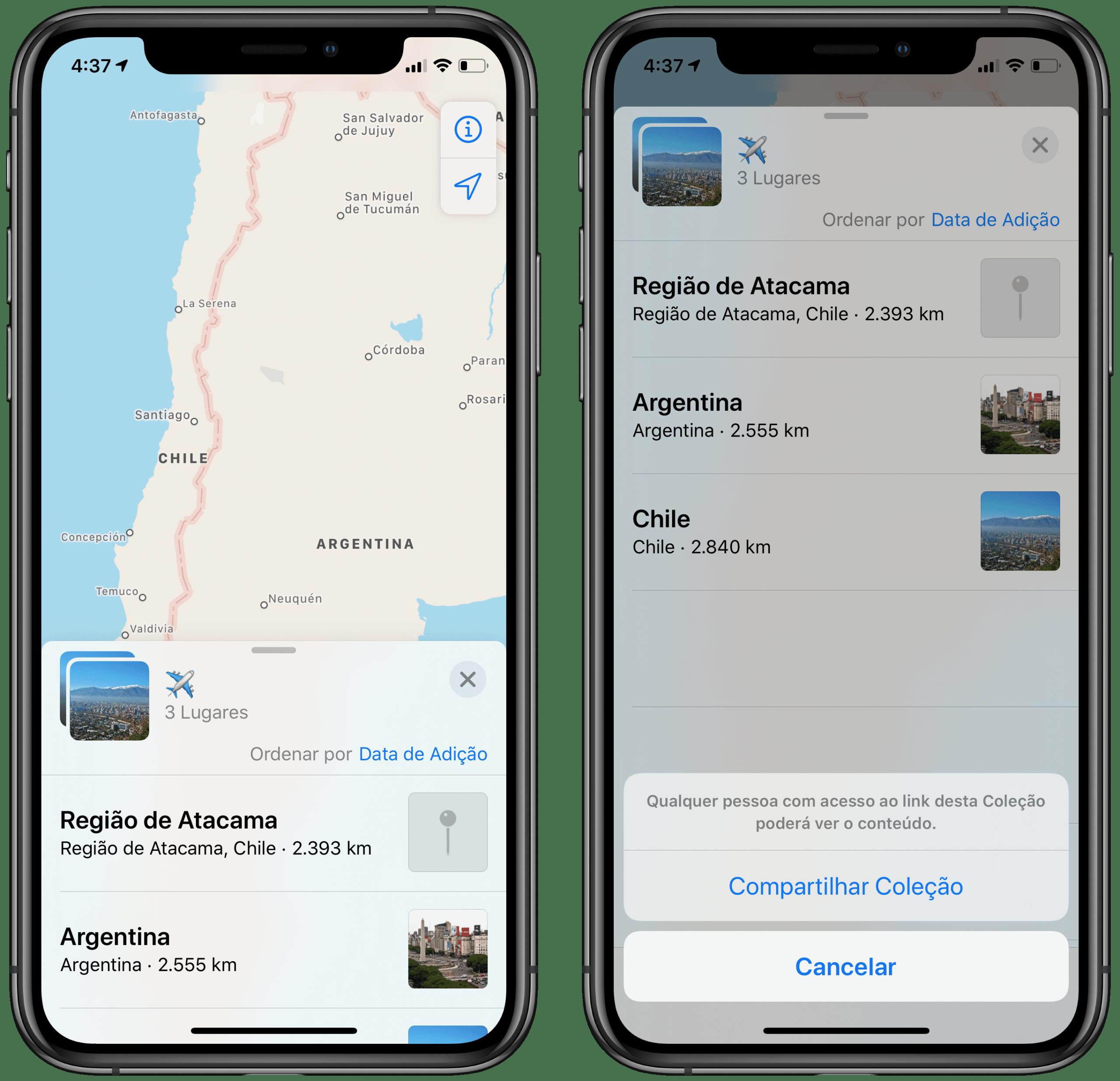 Coleções do Apple Maps