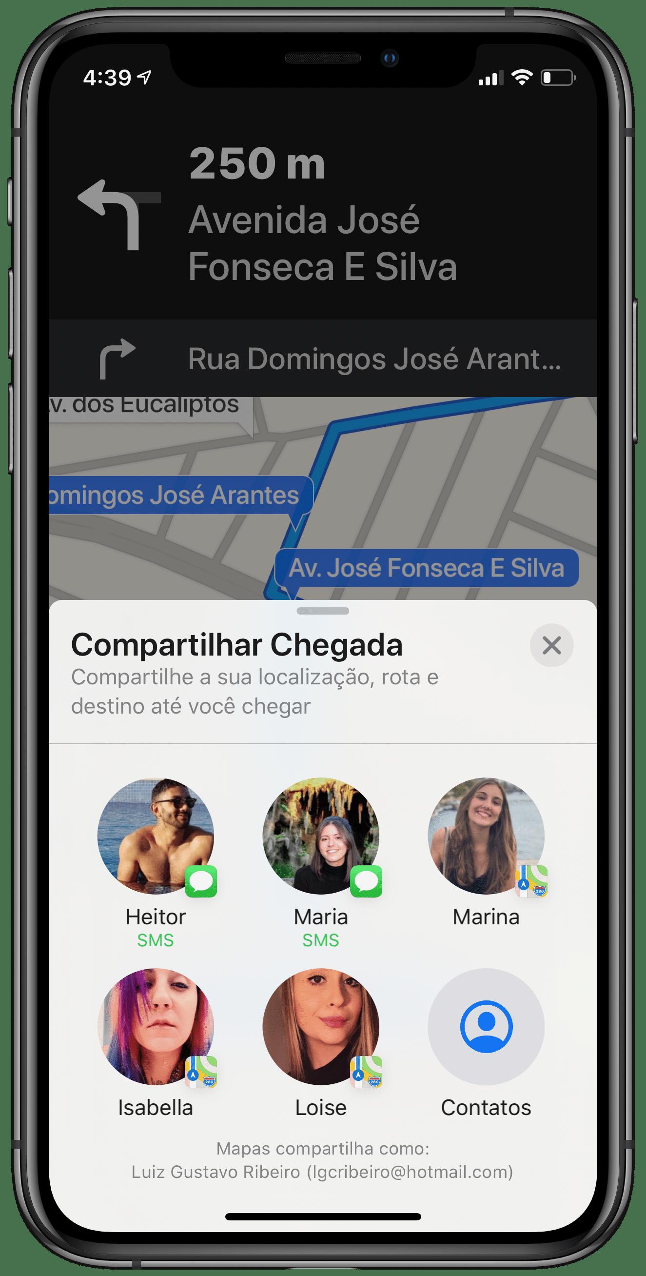 Compartilhar Chegada no Apple Maps