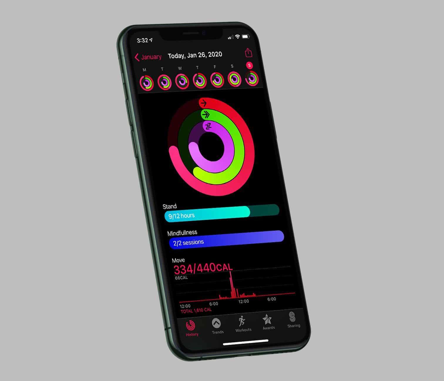 App Atividade no iPhone
