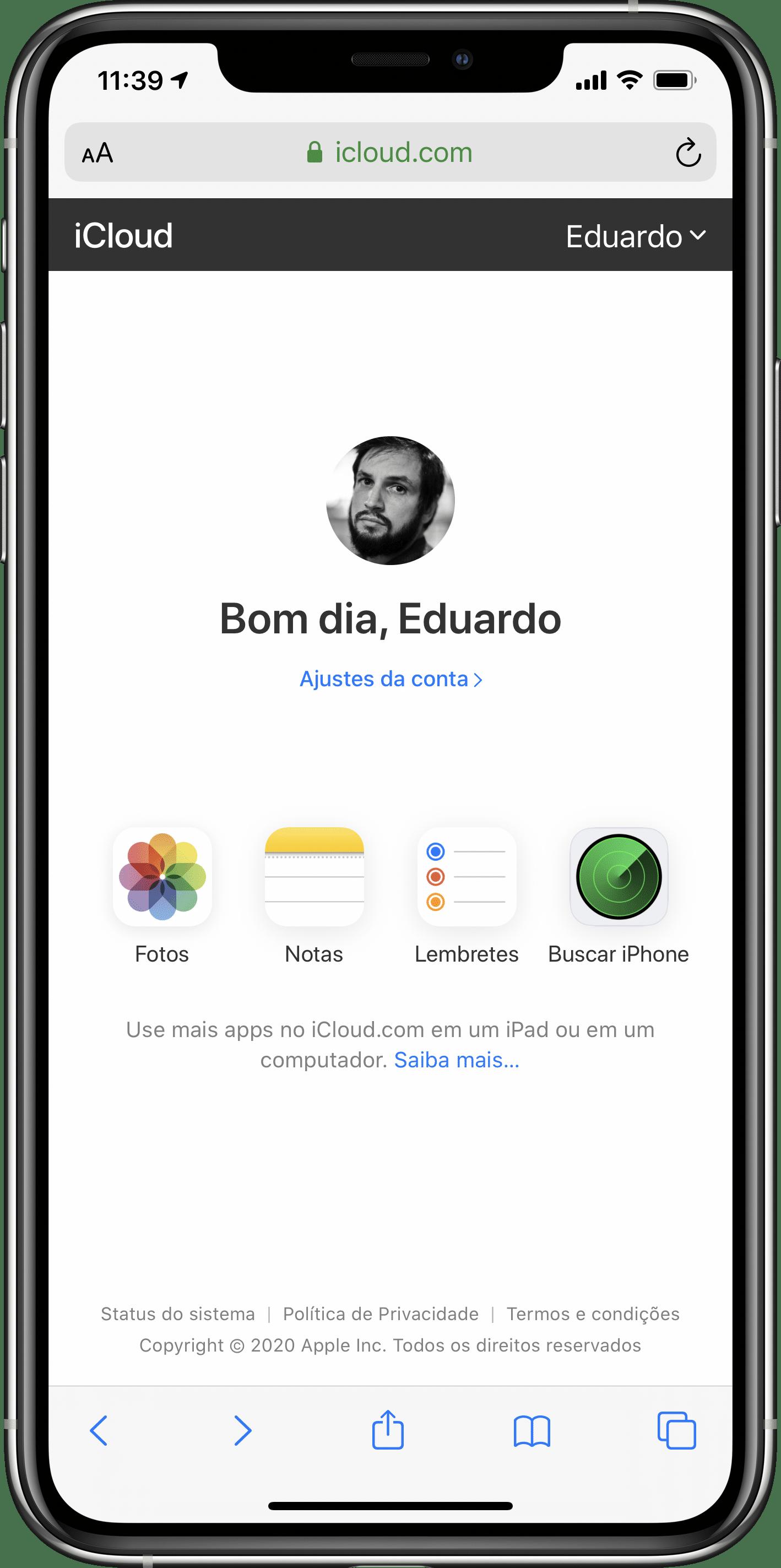 Acessando o iCloud.com pelo iPhone