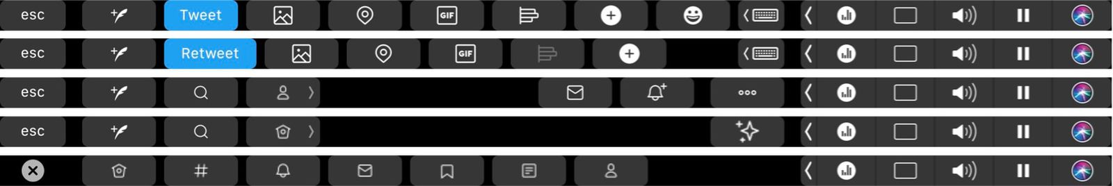 Ícone dos Twitter na Touch Bar