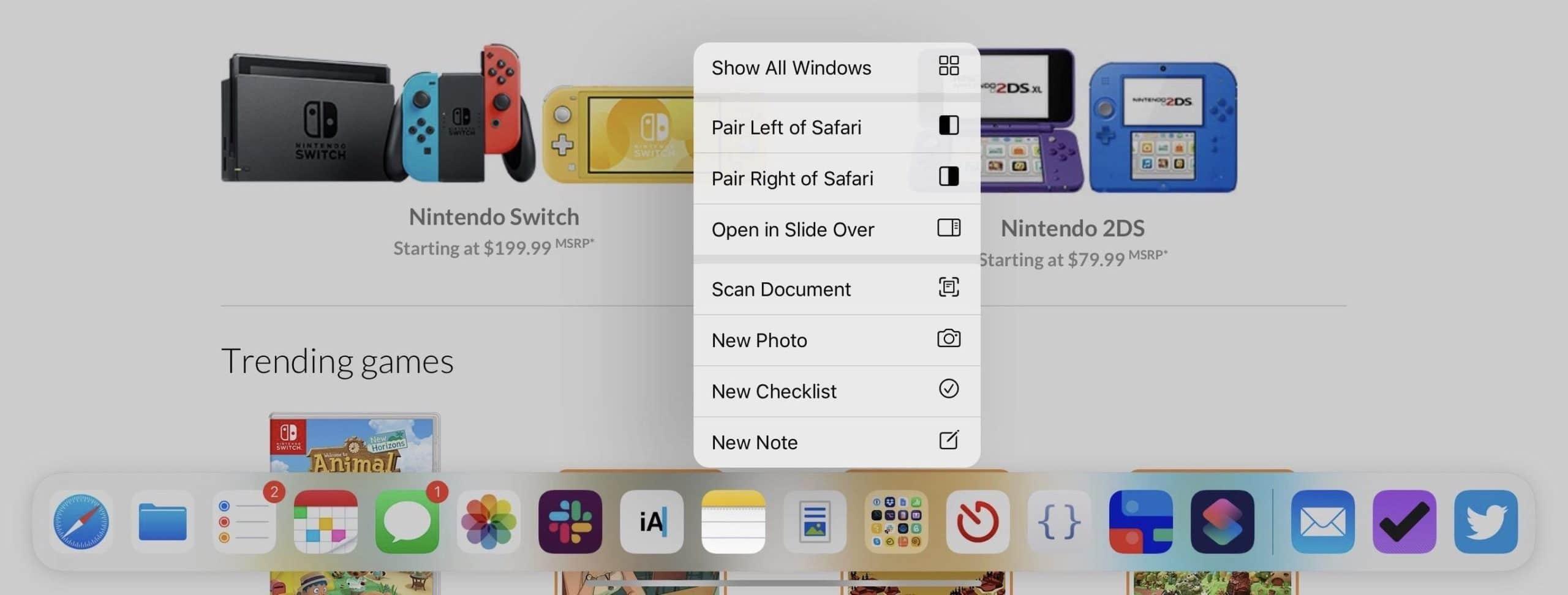 Conceito de multitarefa para o iPadOS
