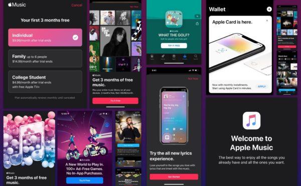 Propagandas de serviços da Apple no iOS