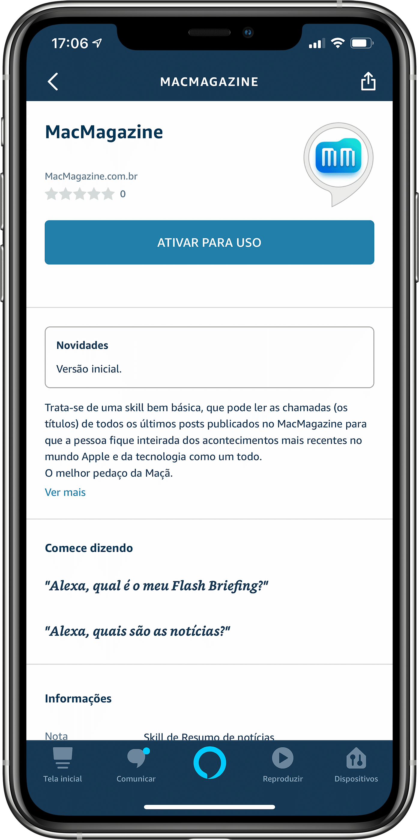 Skill do MacMagazine na Alexa