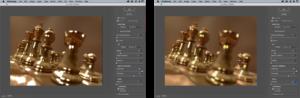 Antes e depois da ferramenta Lens Blur, do Photoshop