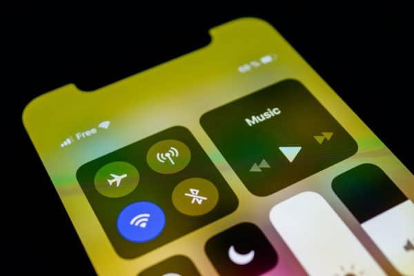 Wi-Fi na Central de Controle de iPhone