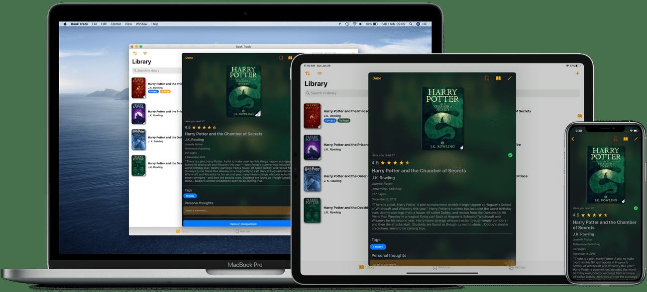 Aplicativo Book Track para iOS e macOS