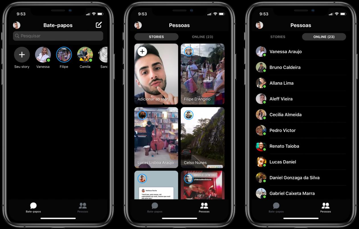 Interface do app Messenger