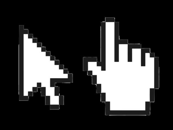 Ícone de seta e mão do ponteiro do mouse