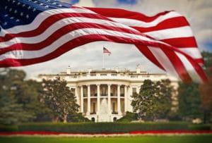 Bandeira dos EUA e Casa Branca