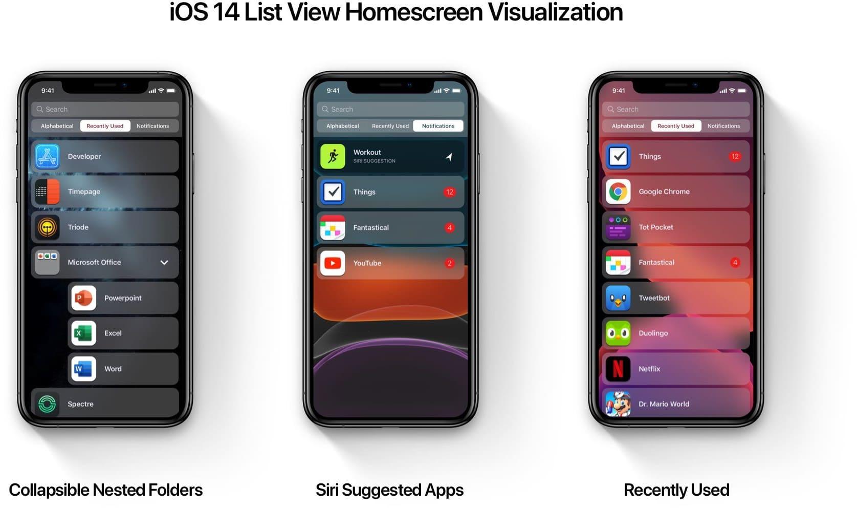 Conceito de apps em lista no iOS 14