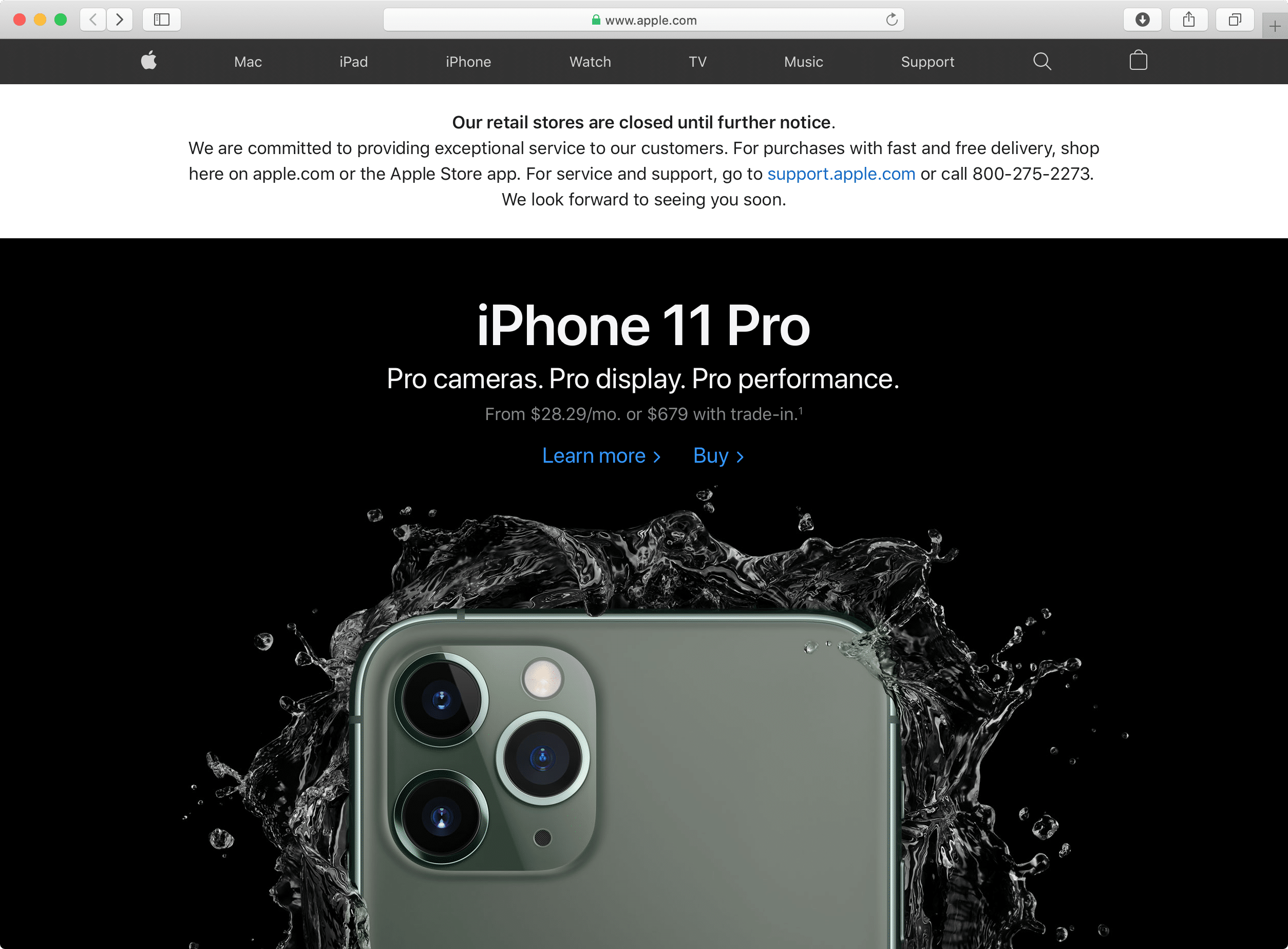 Aviso no Apple.com